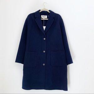 NWT DVF Piper Blue Wool Blend Coat